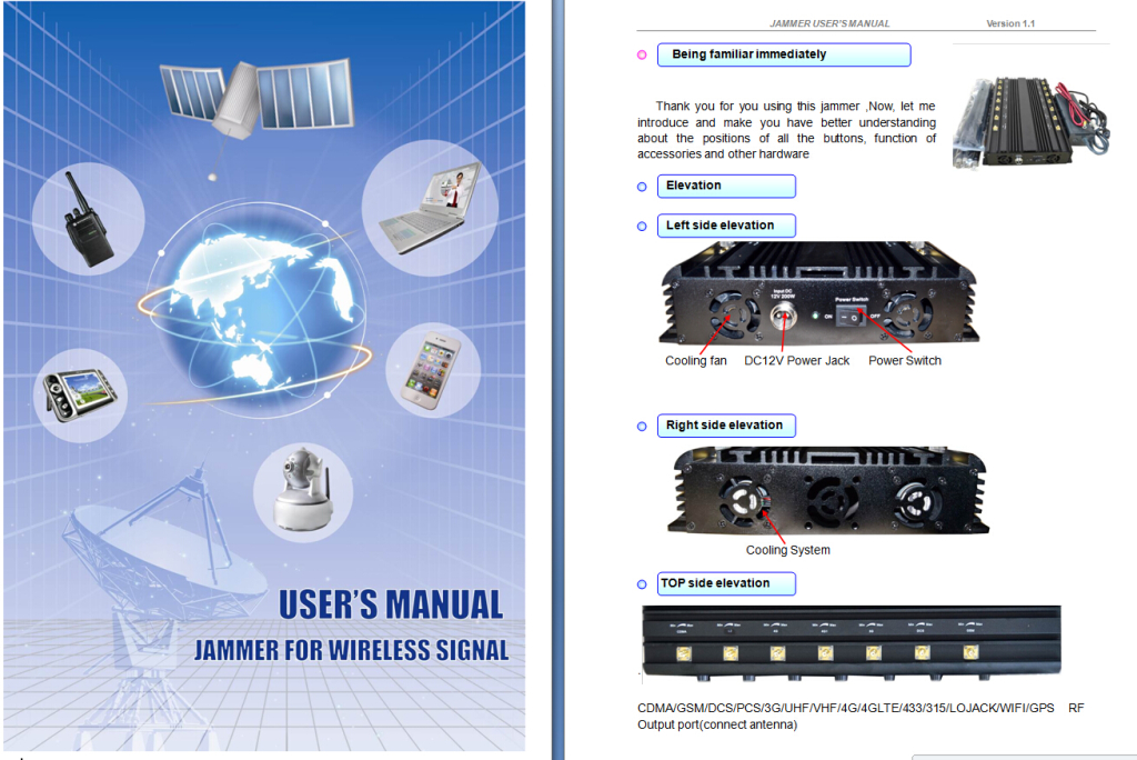 14 bands desktop signal jammer device